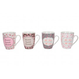 MUG PORCELANA SWEET HOME SURT. 4 360 ML.